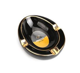 Cinzeiro para 3 Charutos de Cerâmica Cohiba - Preto e Dourado