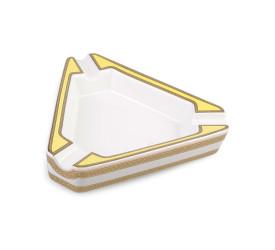 Cinzeiro de Ceramica para 3 Charutos - Branco e Amarelo