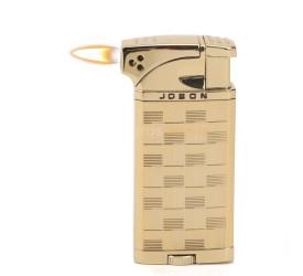 Isqueiro Maçarico Jobon - Quadriculado Dourado (Maçarico e Chama Normal)