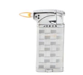 Isqueiro Maçarico Jobon - Quadriculado Prata (Maçarico e Chama Normal)