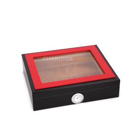 Umidor para 32 Charutos - Preto com Moldura Vermelha